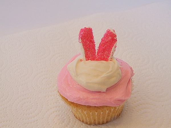 ears added to cupcake for bunny