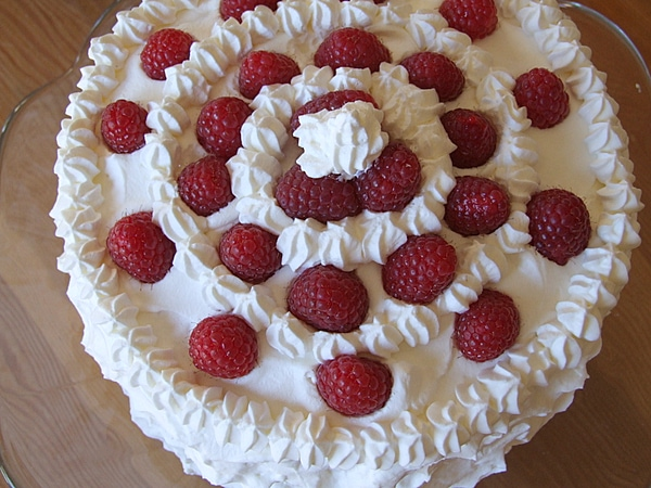 Perfect Party Cake with Fresh Raspberries