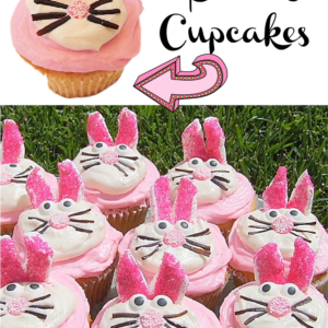 pinterest image for bunny cupcakes