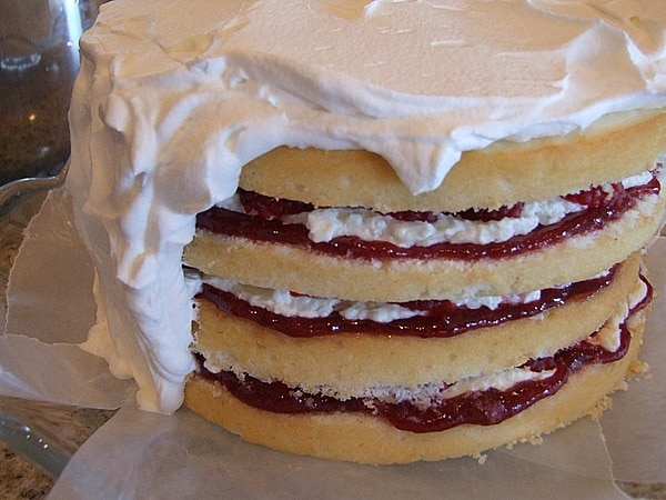 Perfect Party Cake: lemon cake with layers of buttercream and raspberry