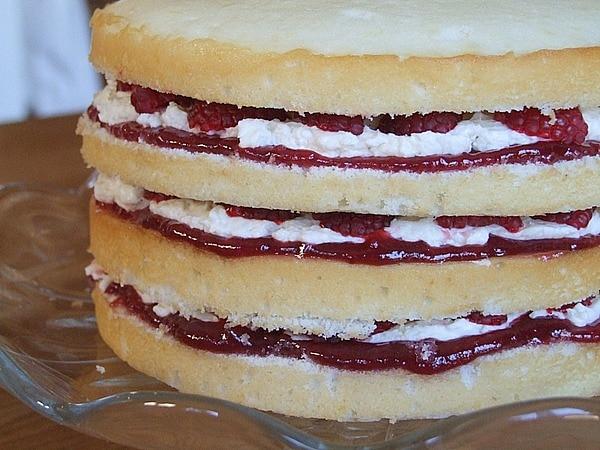 ... with raspberry jam, Dorie's buttercream and halved raspberries