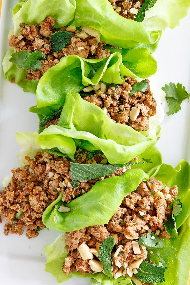 lettuce wraps with Asian ground meat filling