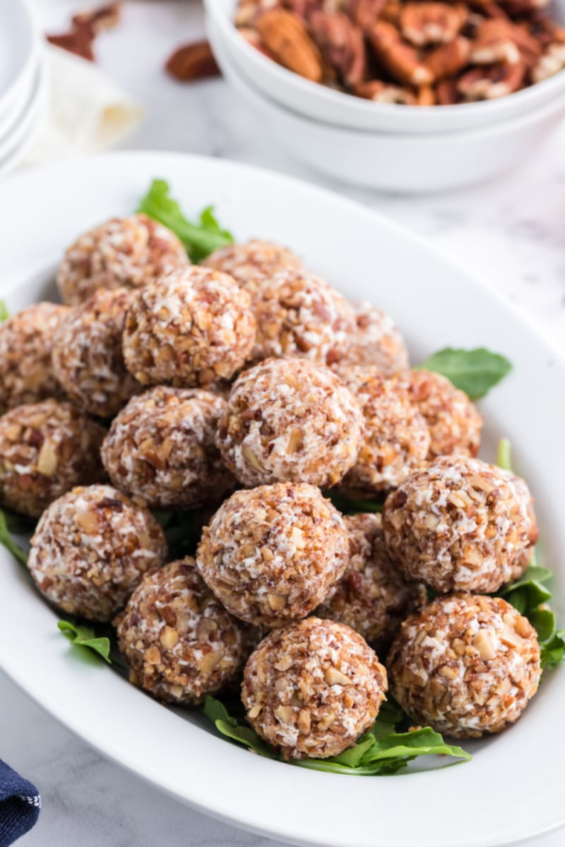 goat cheese truffles stacked on a platter
