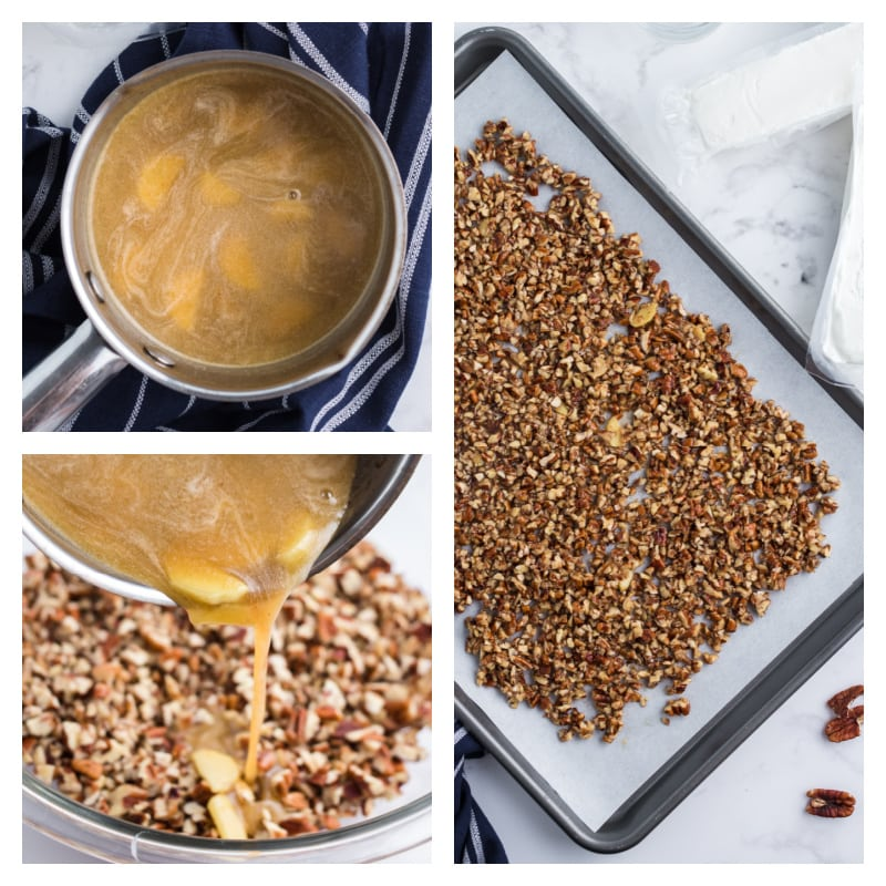 three photos showing making maple glaze, pouring it on nuts and baking the nuts