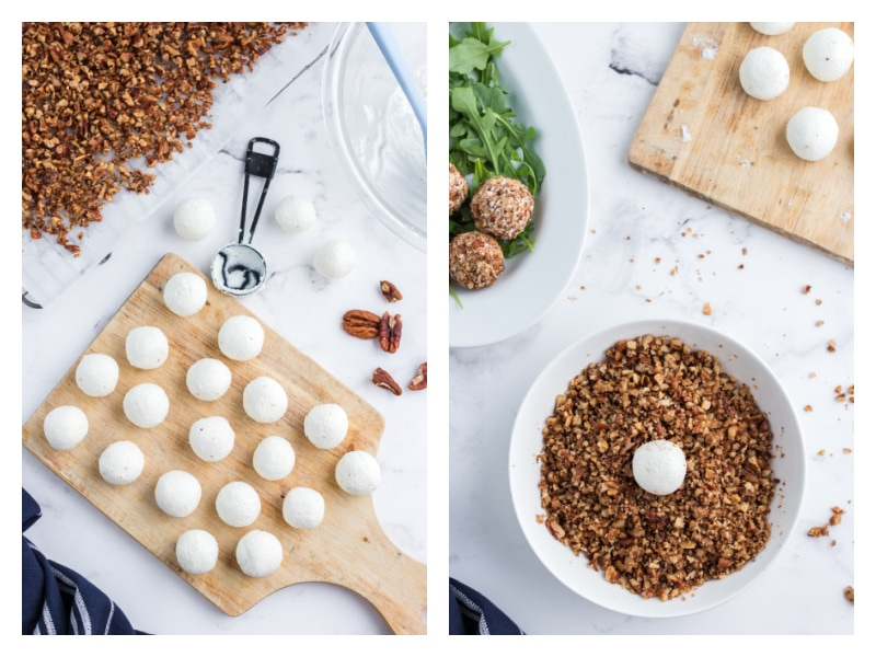 goat cheese rounds on cutting board and then dipped in pecans