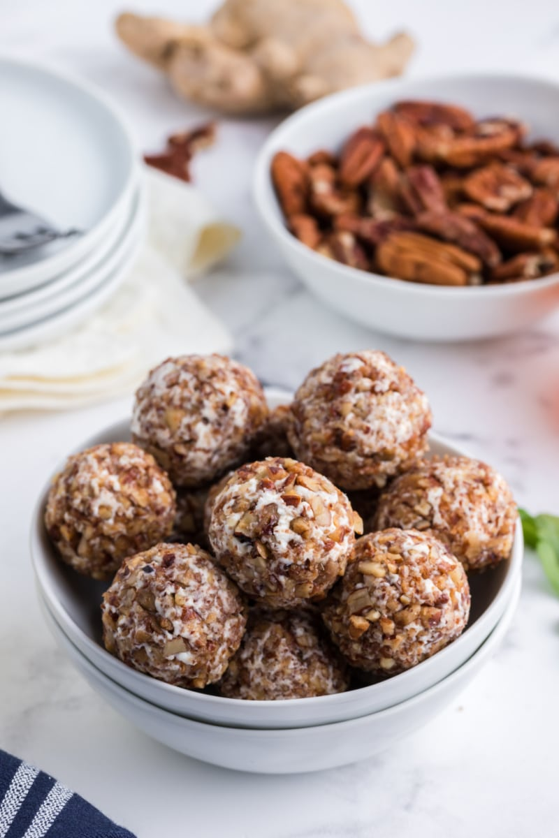 goat cheese truffles in a display bowl