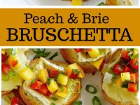 pinterest collage image for peach and brie bruschetta