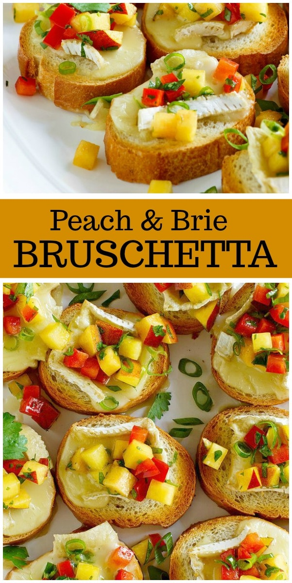 Peach and Brie Bruschetta recipe from RecipeGirl.com #peach #brie #bruschetta #appetizer #summer #recipe #RecipeGirl