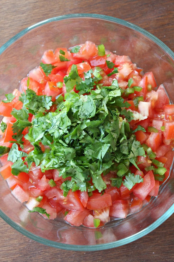 making salsa fresca
