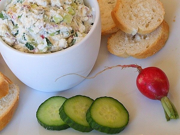 Vegetable Goat Cheese Spread with fresh veggies and baguette