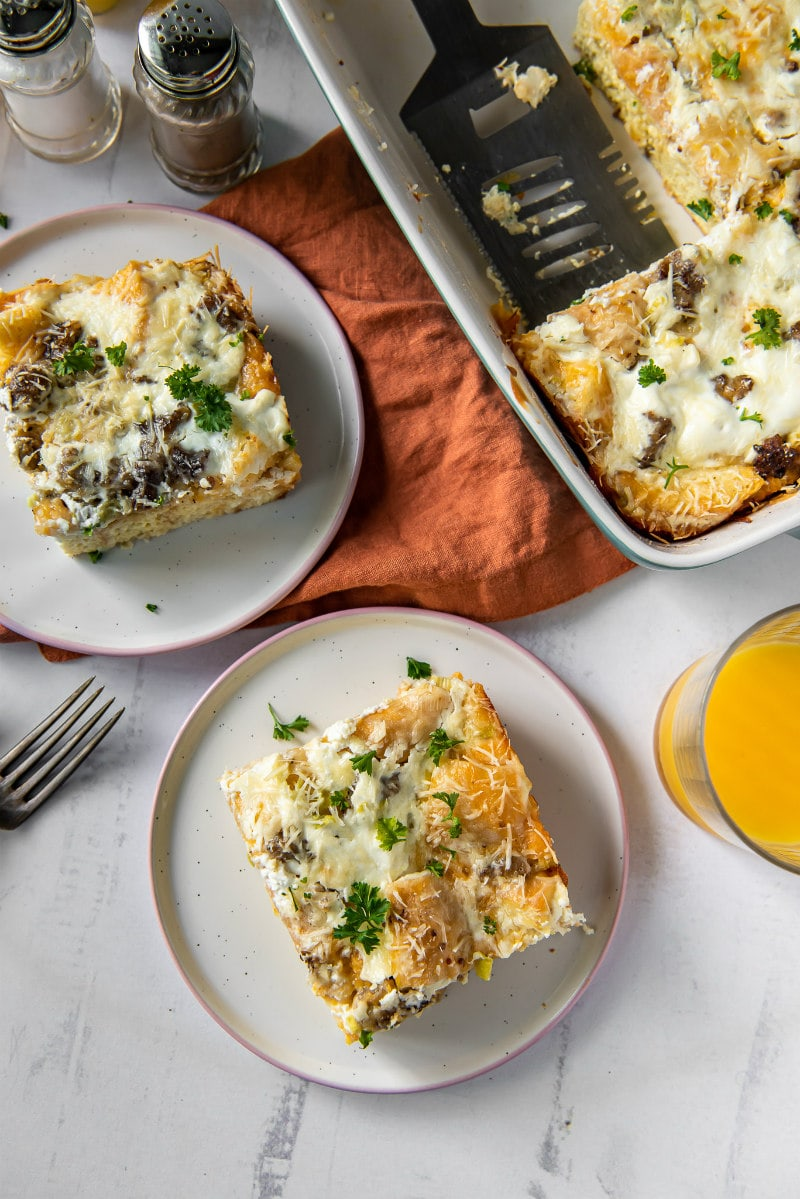 serving Buffet Breakfast Casserole