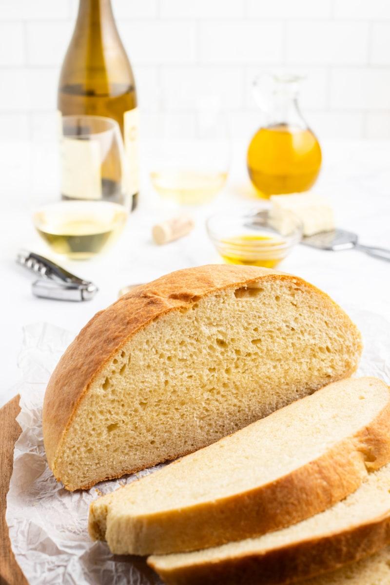 sliced loaf of round bread
