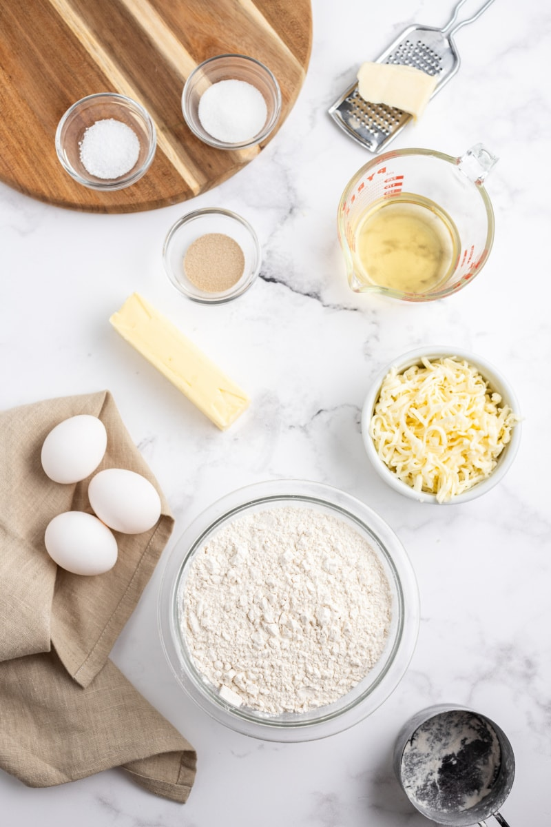 ingredients displayed for cheese and wine bread