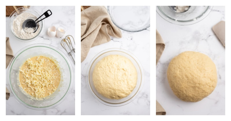 three photos showing process of making bread dough
