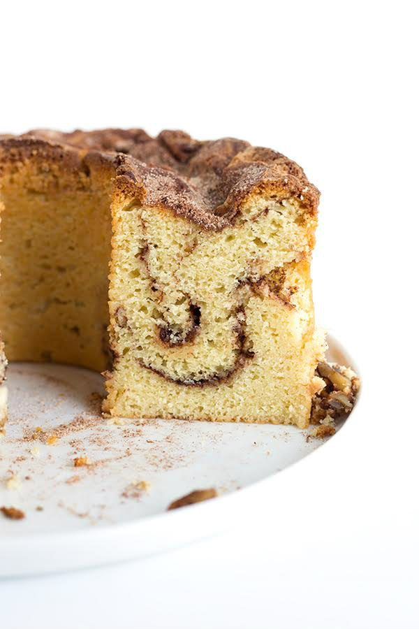 Sliced into Cinnamon Morning Cake
