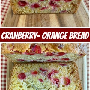 pinterest collage image for cranberry orange bread