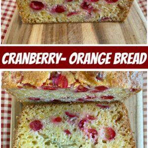 pinterest collage image for cranberry orange bread