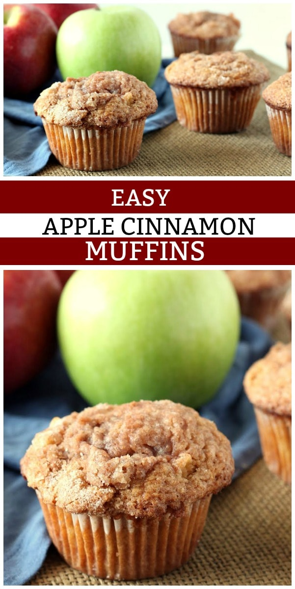Pinterest collage image for easy apple cinnamon muffins