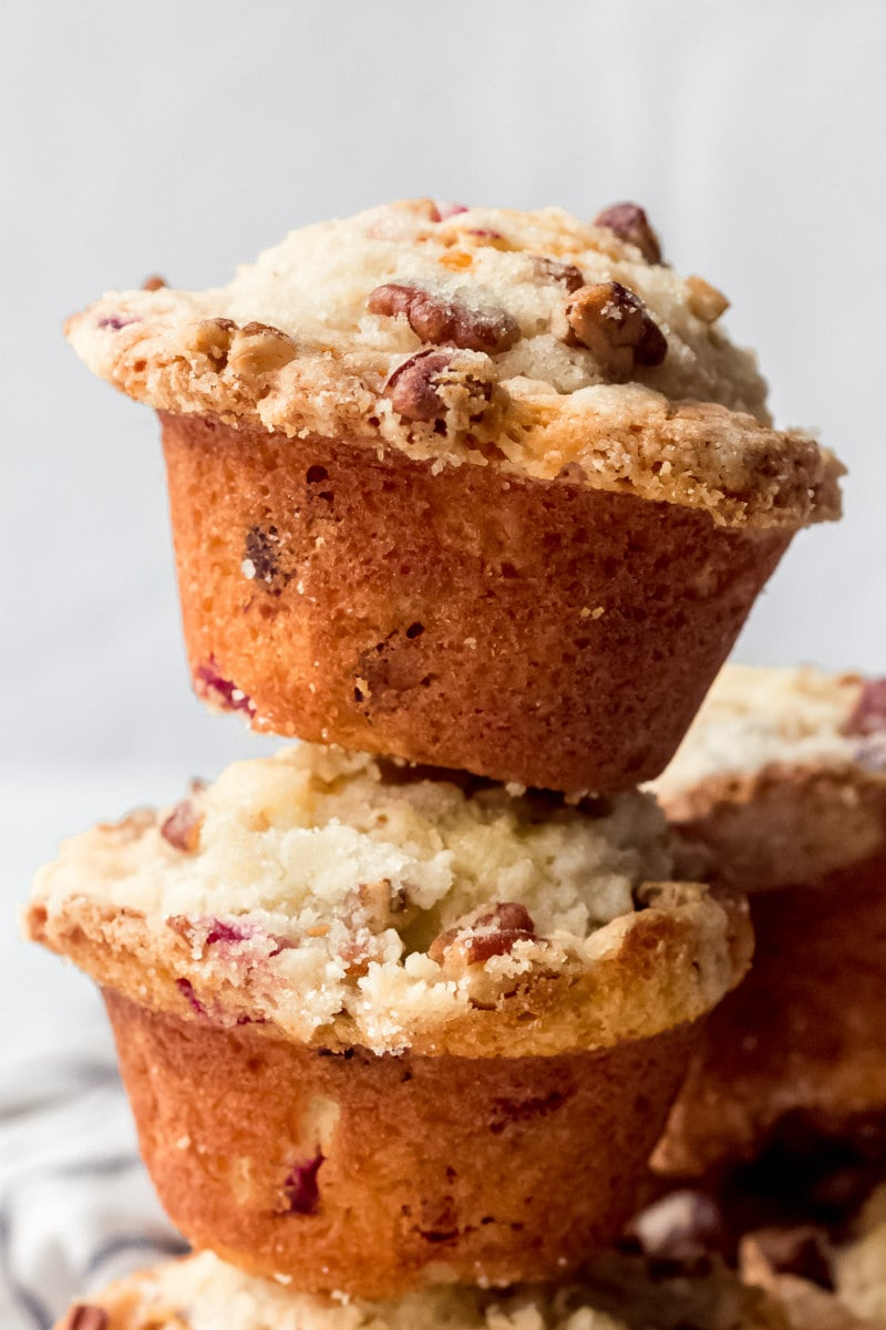 stack of eggnog cranberry muffins