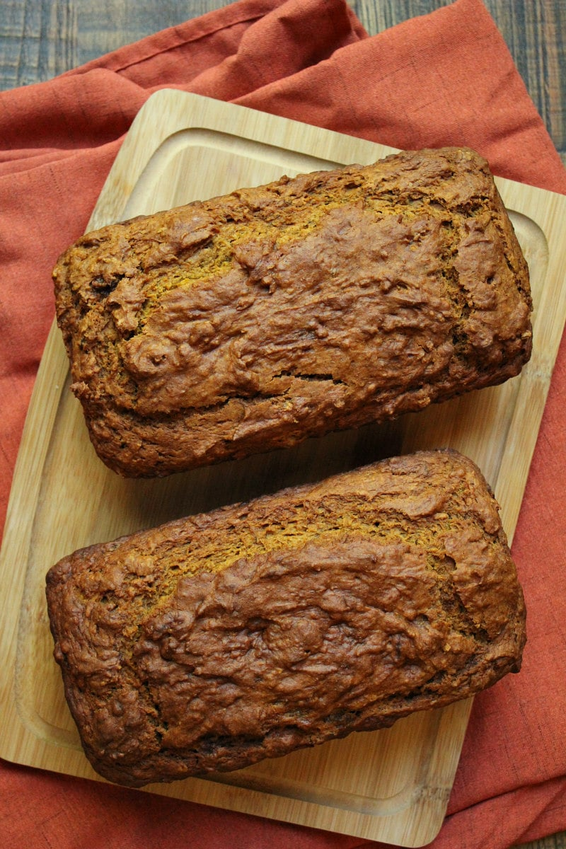 Two loaves of Pumpkin Banana Nut Bread