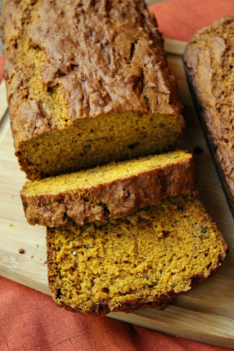 Loaf of Pumpkin Banana Nut Bread sliced
