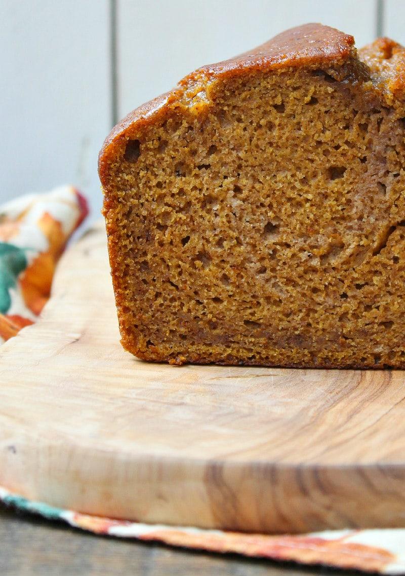Best Pumpkin Bread recipe loaf cut in half
