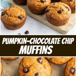 pinterest collage image for pumpkin chocolate chip muffins