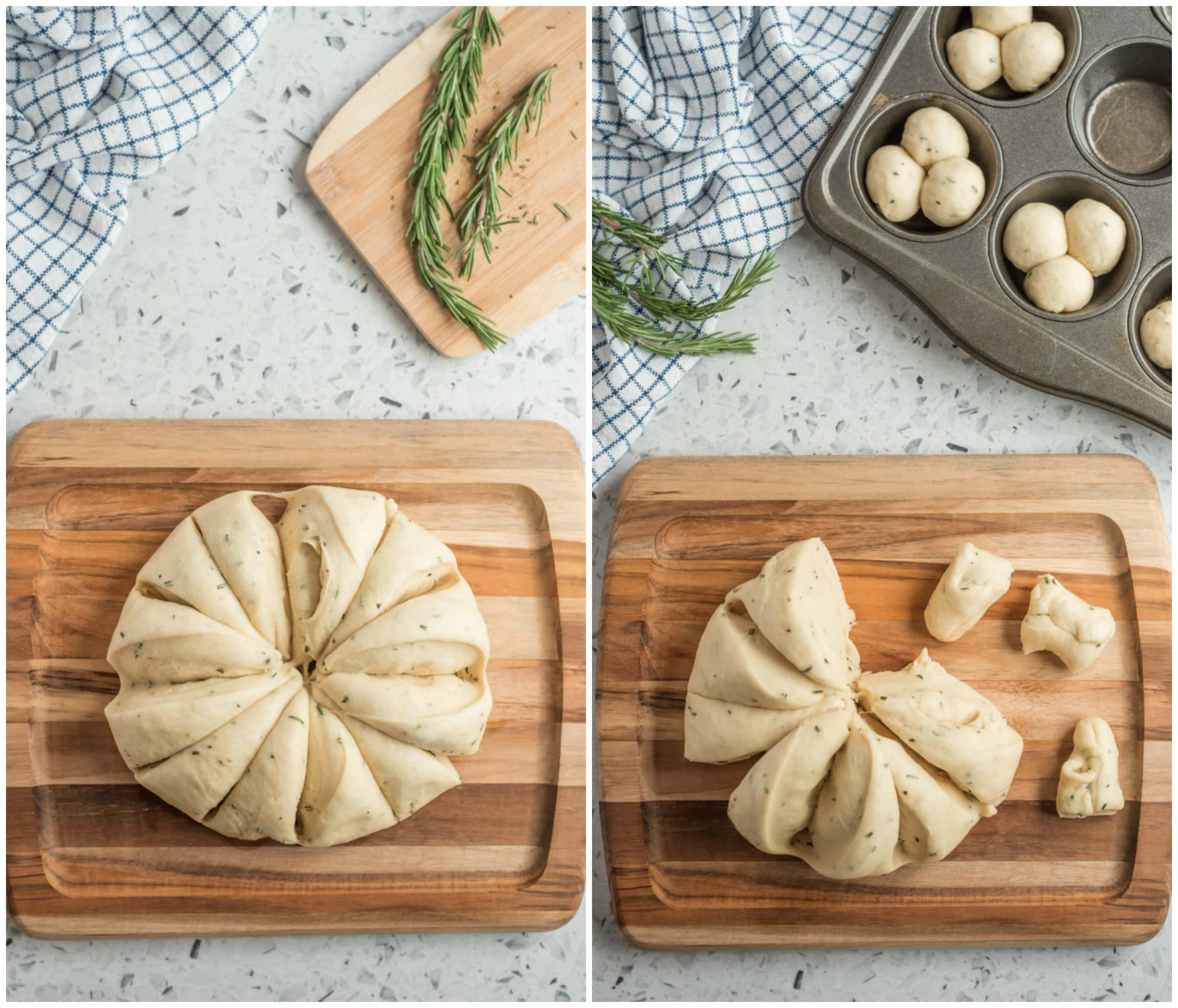 process of making cloverleaf rolls- dough cut into pieces
