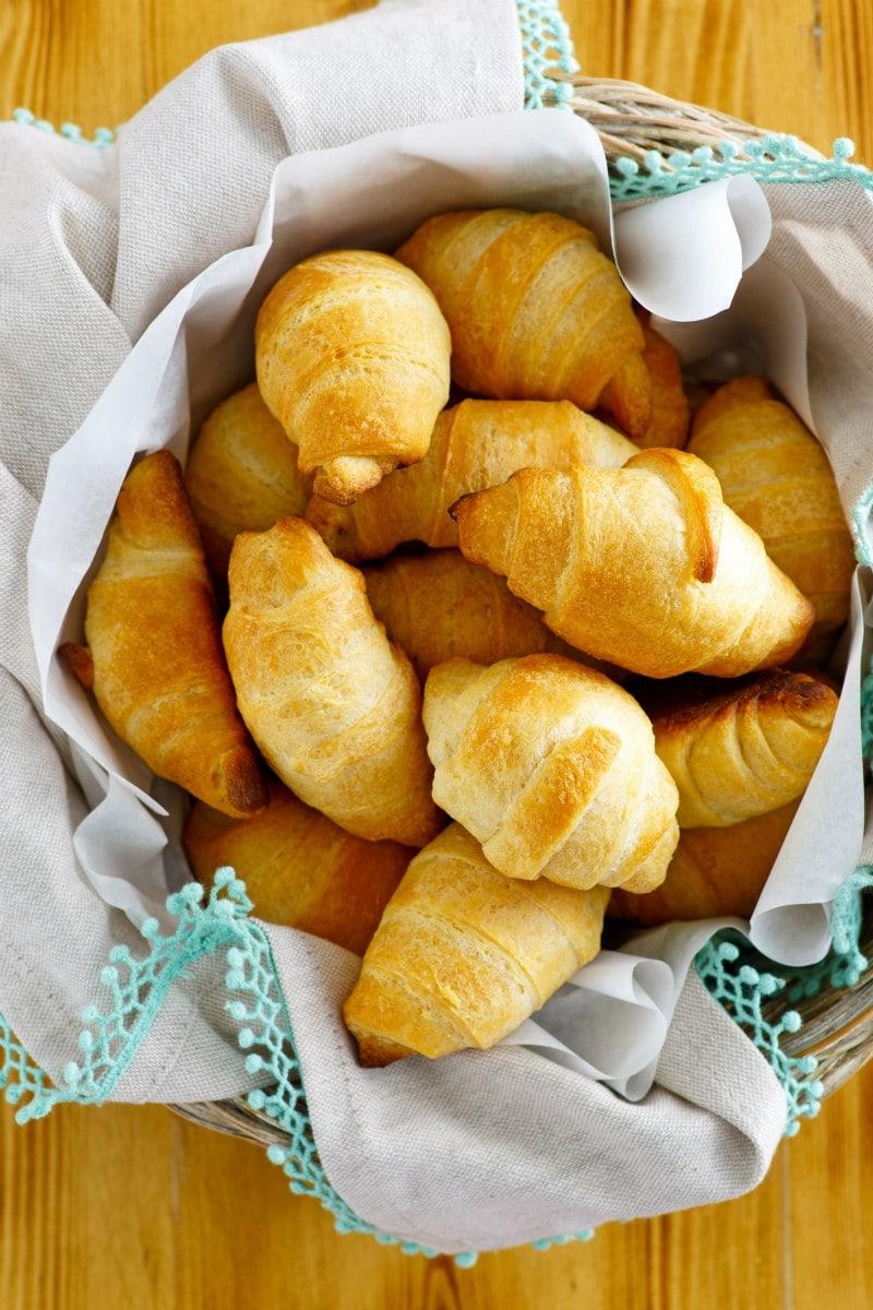 basket of Sweet Potato Croissants