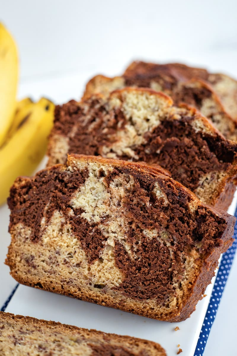 Slices of Marbled Chocolate Banana Bread