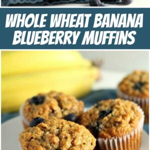 pinterest collage image for whole wheat banana blueberry muffins
