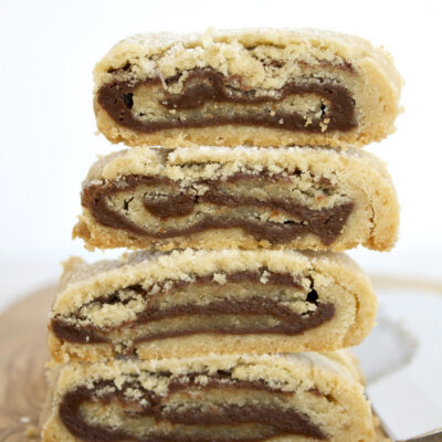 stack of 4 bake and slice chocolate swirl cookies