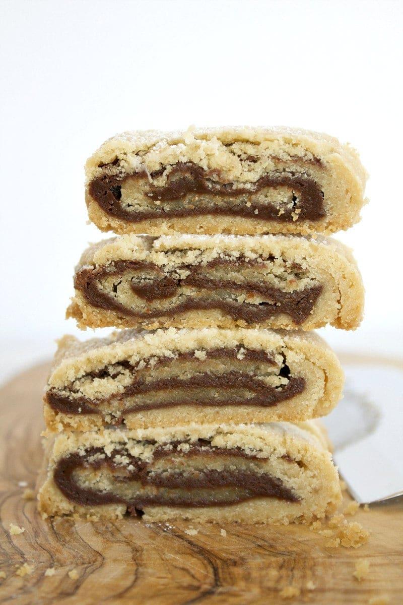 stack of 4 bake and slice chocolate swirl cookies
