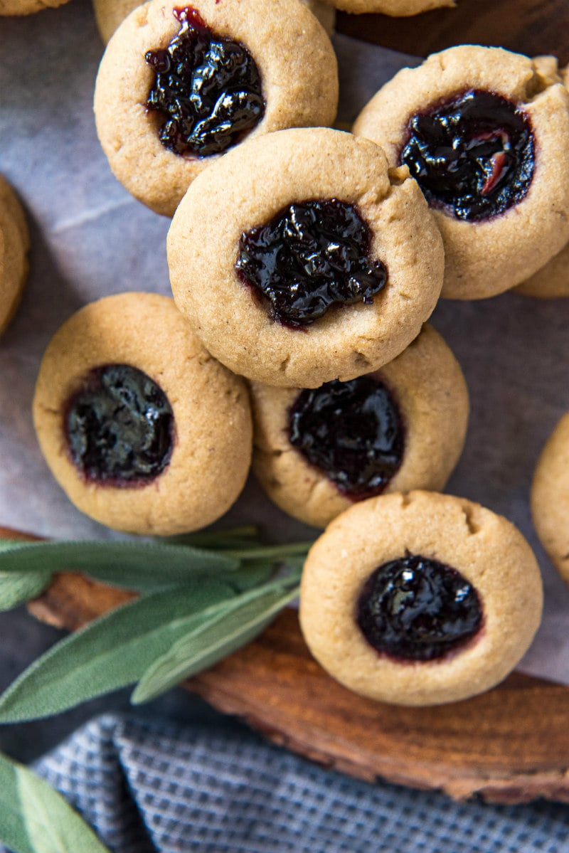 Blackberry sage thumbprint cookies