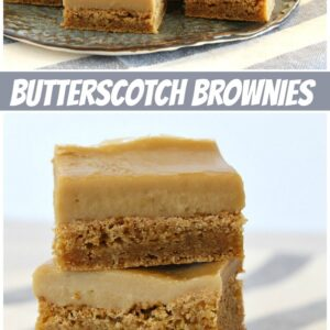 pinterest collage image for butterscotch brownies