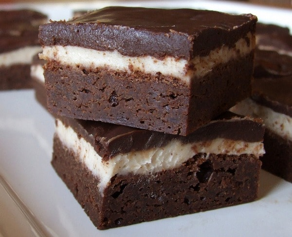 Stack of two cappuccino brownies