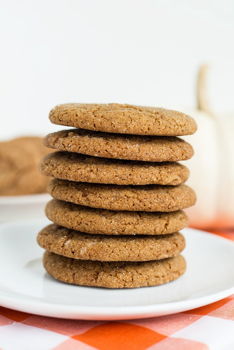 Stack of Chewy Molasses Spice Cookies