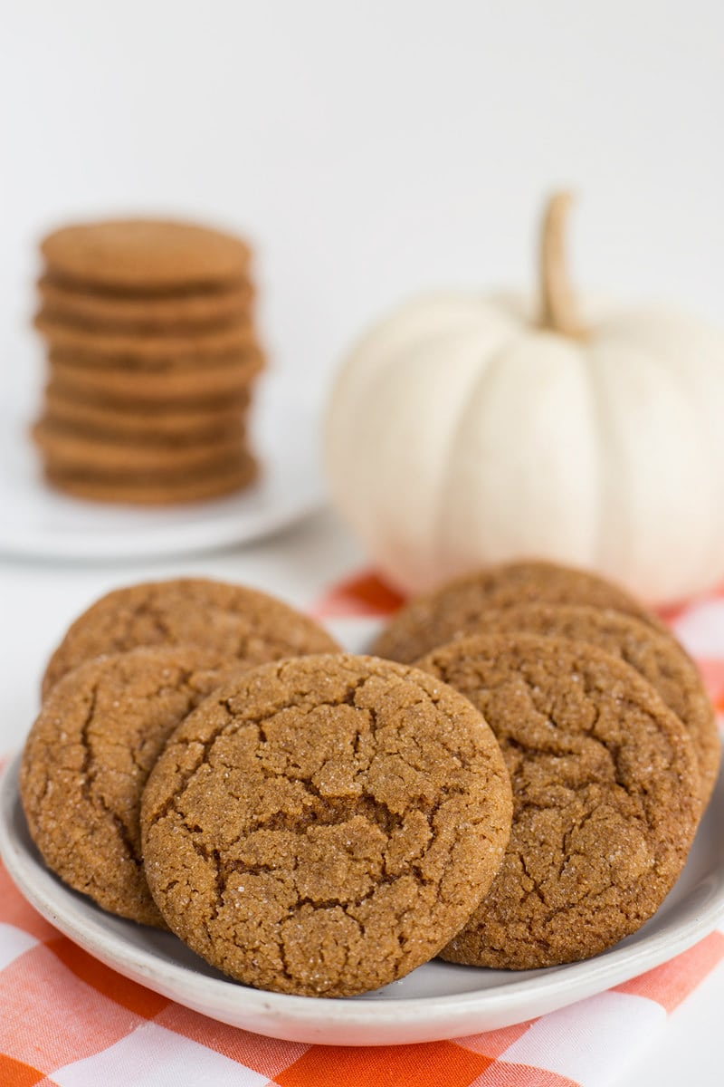Plate of Chewy Molasses Spice Cookies