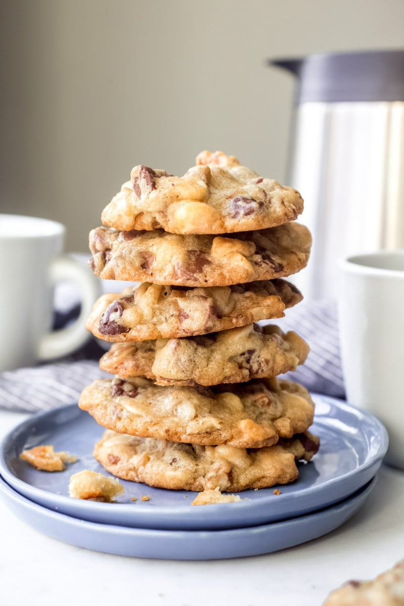 stack of Nutty Chocolate Chip Overload Cookies