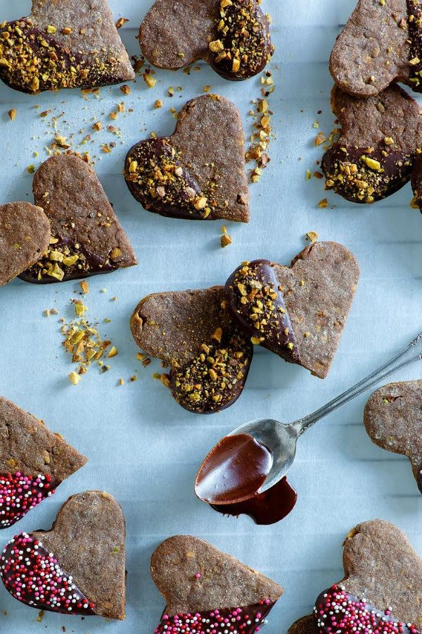 Chocolate Cookies dipped in chocolate and pistachios