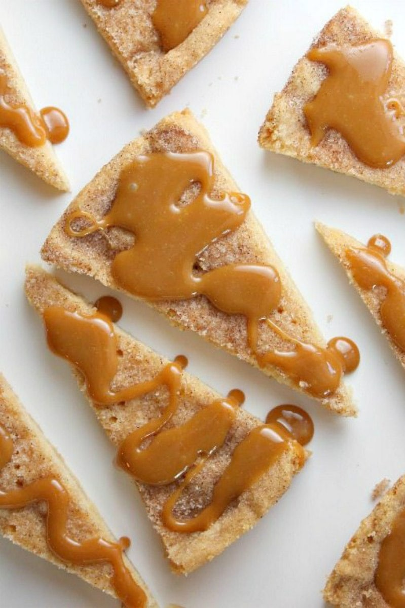Cinnamon Shortbread drizzled with caramel
