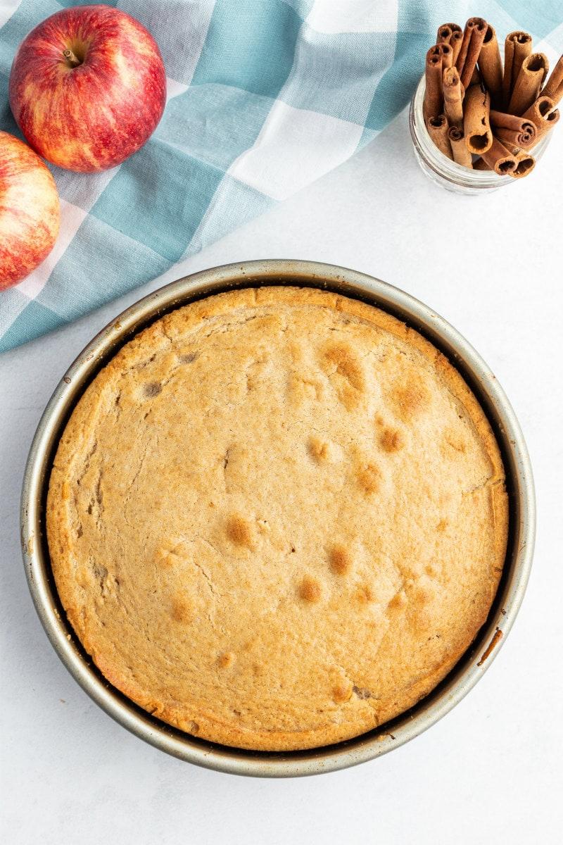 apple cinnamon upside down cake in pan