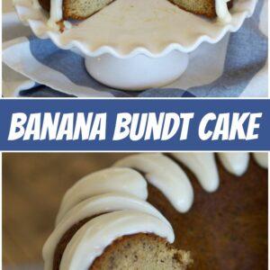 pinterest collage image for banana bundt cake