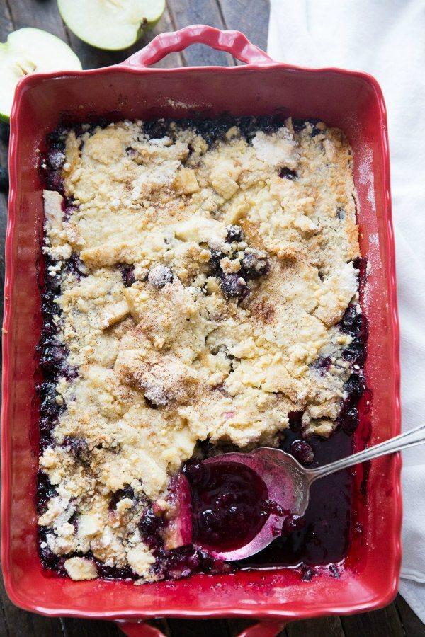 Easy recipe for a Blueberry Apple Crisp - by RecipeGirl.com