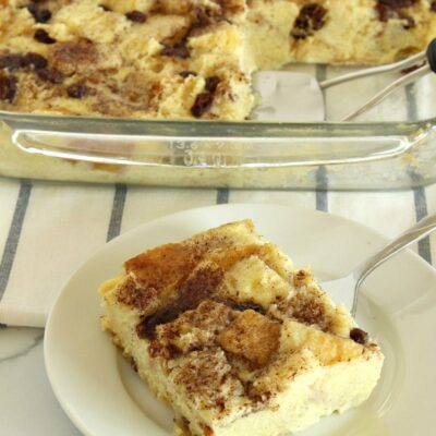 slice of bread pudding on a plate