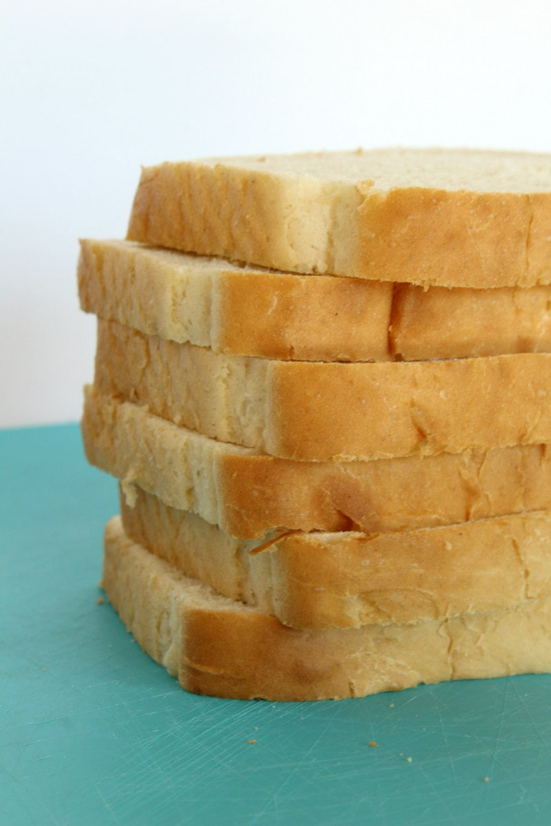 stack of bread used for bread pudding