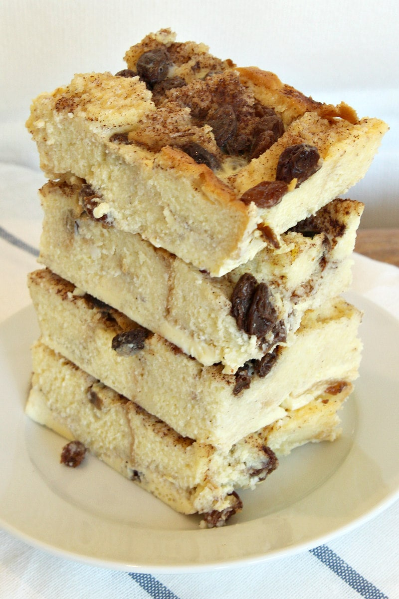 stack of bread pudding slices