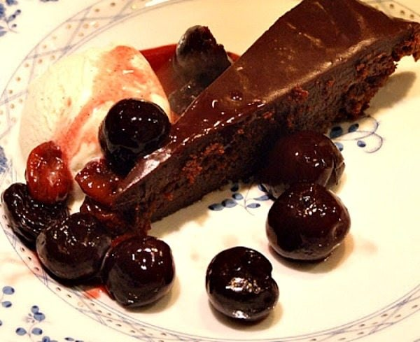 Cherries Jubilee served over Chocolate Cake