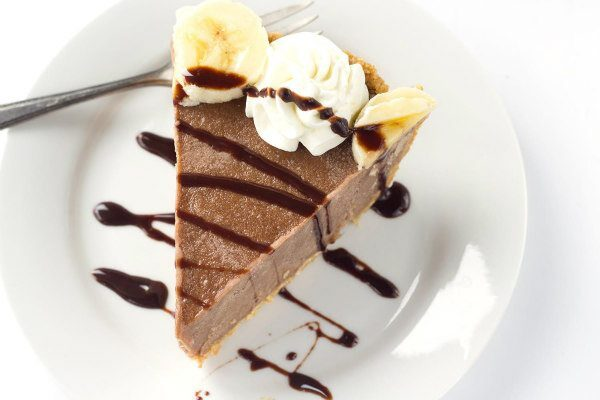 Chocolate Banana Ice Cream Pie with Peanut Butter Crust - recipe from RecipeGirl.com