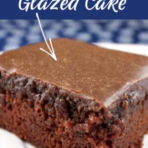 Pinterest image for chocolate glazed cake